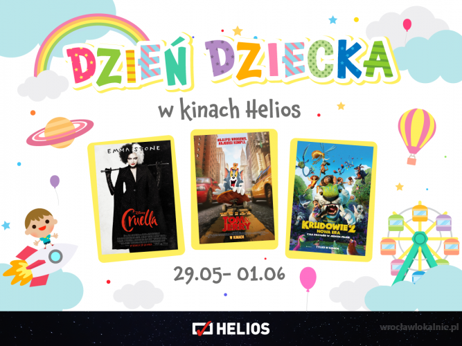 Dzień Dziecka w kinach Helios Wrocław Magnolia Park oraz Helios Wrocław Aleja Bielany